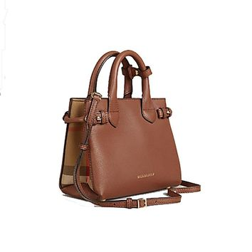Tote Bag Handbag Authentic Burberry The Baby Banner in Leather and House Check Ink Tan Item 40140781