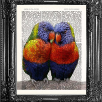 Love Bird Art-Love Bird Print-Dictionary Print Book Page Print-Antique Book Page-Print On Dictionary Book Page-Love Bird Dorm Wall Decor