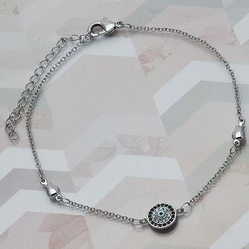 Rhodium Layered Women Greek Eye Fancy Anklet, with Sapphire Blue Micro Pave, by Folks Jewelry