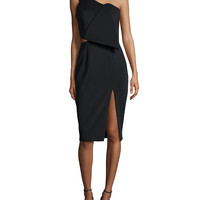 The Night One-Shoulder Sheath Dress, Black, Size: