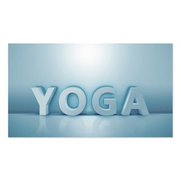 Yoga Instructor Modern Minimal White Blue 3D Text Business Card
