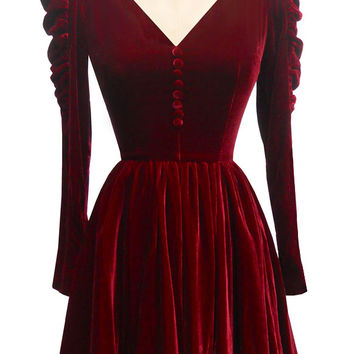 Candice Gwinn Victorian Mini Dress | Vintage Inspired Dress | Wine Silk Velvet