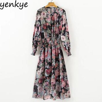 Vintage Women Floral Printed Midi Dress Long Sleeve Elastic Waist 2pcs Chiffon  Casual Dresses Autumn vestidos XDWM797
