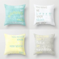 *** YOU ARE MY SUNSHINE ***  PILLOW SET by Monika Strigel *** in three sizes OUTDOOR & INDOOR