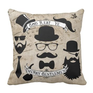 Merry Gentlemen Whimsical Throw Pillow