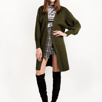 Olive Balloon Sleeve Cardigan