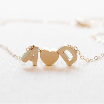 Sweet Love Letters Necklace-Tiny Gold/Silver Initial Letters With Heart-Personalized Necklace-Couples Necklace-Gift Idea
