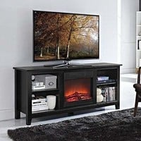 """58"""" Black Wood TV Stand with Fireplace Insert"""