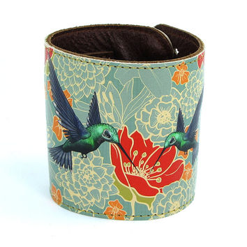 Leather cuff / wallet wristband - Hummingbirds in floral bliss