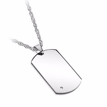 The ID Tag Stud Necklace in Silver
