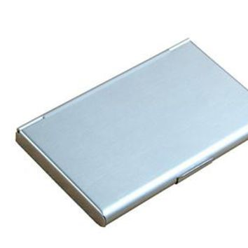 New Business ID Credit Card Case Metal Fine Box Holder Stainless Steel Pocket 9.3x5.7x0.7cm