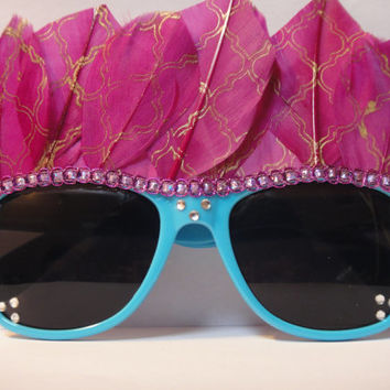 Pink Feather Headdress Blue Wayfarer Style Sunglasses with Rhinestones