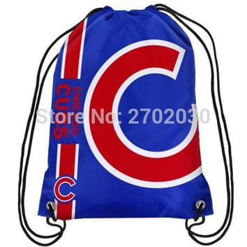 Chicago Cubs Champion Drawstring Bags Men Sports Backpack Baseball Team Digital Printing Pouch Customize Bags 35*45cm Sports US
