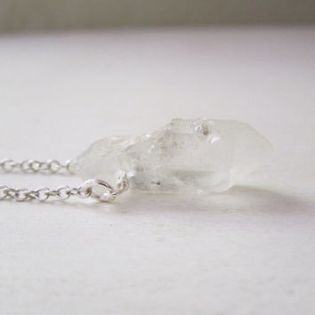 Raw Quartz Point Necklace - Natural Clear Frosted Quartz Crystal Pendant Necklace Silver Chain stone no.23