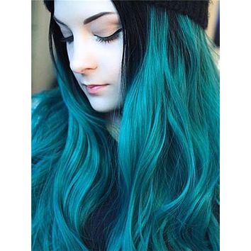Long Lake Green Ombre Wave Synthetic Lace Front Wig