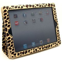 Gold Leopard Design Vinyl Portfolio Cover Case with Stand and Wake up / Sleep Function for Apple Ipad 2 / New Ipad / Ipad 3 + Premium Anti Glare Lcd Screen Guard