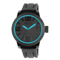 Kenneth Cole Reaction Men's Oversized Watch RK1234 Black Cyan Blue Rubber Strap