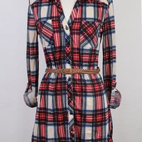 Plaid Dress Red & Ivory