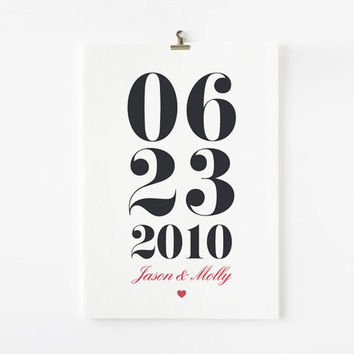 Personalized Custom Anniversary or Wedding Date Print by loopzart