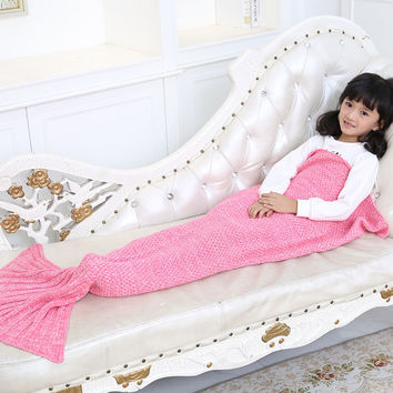 Yarn Knitted Mermaid Tail Blanket Kids Handmade Crochet Mermaid Blanket Super Soft Sleeping Bag Warm Handmade Knitted Blanket