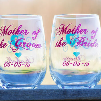 Mother of the Bride, Mother of the Groom, Father of the Bride/Groom Stemless Wine Glass, Hot Pink, Mint colors, wedding. Priced individually