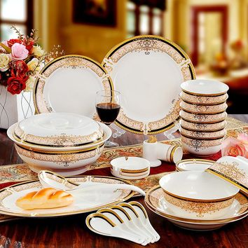 Bone China Dinnerware Set Ceramic Plates and Dishes Bowls 56pcs combination
