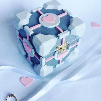 Companion Cube Wedding Ring Box,Handmade Portal Companion Cube, Engagement Ring Box, Companion Cube Proposal Box