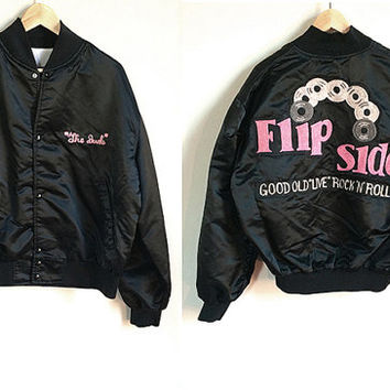 "Vintage Embroidered Bomber Jacket -- Black Satin Bomber Jacket -- Rock N Roll Jacket -- 80s Baseball Jacket -- ""The Dude"" -- Unisex Large"