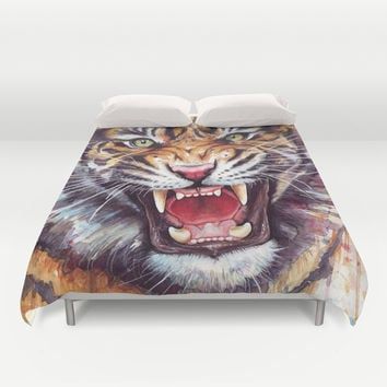Tiger Watercolor Portrait Animal Art Duvet Cover by Olechka
