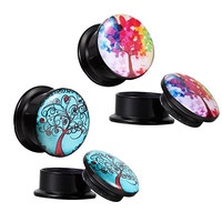 00G Black Tapers Stash Plugs Tree of Life Kit (10mm) - 6 Pieces