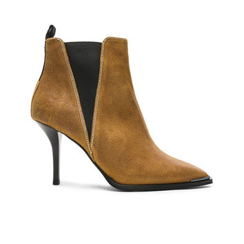Acne Studios Waxed Suede Jemma Boots in Caramel Brown | FWRD