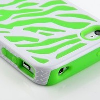 Pandamimi Green White Zebra Combo Hard Soft High Impact Armor Skin Gel Case for iPhone 4/4S/4G