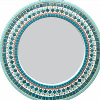 Turquoise and Copper Round Mosaic Mirror