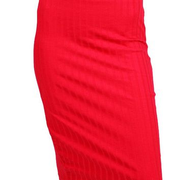 Career Banded Waist Ribbed Knit Fitted Basic Stretch Pencil Midi Skirt