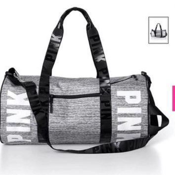 """"""" Pink """" Printed High Quality Durable Victoria's Secret Like Sport Exercise Carry on Yoga Gym Travel Luggage Bag  _ 13494"""