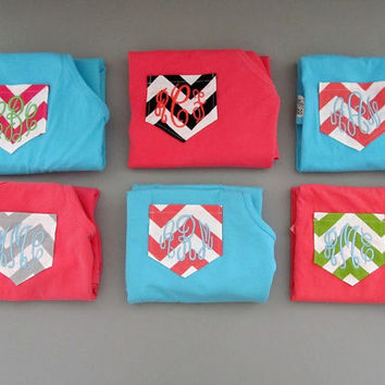 Monogrammed Tank Top Chevron Pocket COMFORT COLOR Brand Cotton Personalized Tank