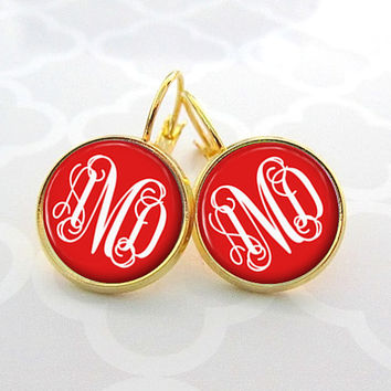Red Monogram Earrings, Bridesmaid Gift, Monogram Jewelry Personalized Earrings  (331)