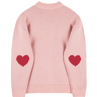 HEART CLUBEmbroidered Logo With Elbow Heart Accent Knit Sweater | MIXXMIX