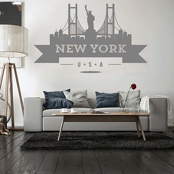 USA New York City Skyline Wall Sticker Vinyl Decals Living Room Mural New Design Sofa Background Wall Decor Art Wall Decal LC103