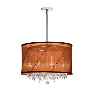 Dainolite 6 Light Crystal Chandelier with Chocolate / Rust Saffron Shade and Polished Chrome Finish