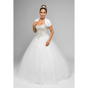 White Beaded Bodice Strapless Ball Gown Wedding Dress with Bolero