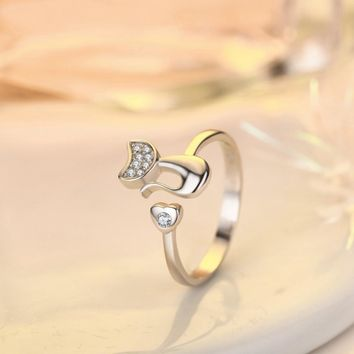 Cute cat with love heart silver plated women fashion resizable open new ring