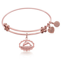 Expandable Bangle in Pink Tone Brass with Dolphin Be In Touch Symbol