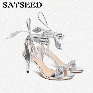 Women Sandals 2018 New Summer High Heels Sandals Female Silver Round Toe Rome Shoes Ankle Strap Bow Fashion Sandals Party Shoes
