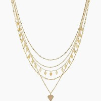Moonstone Multi Charm Necklace - Gold