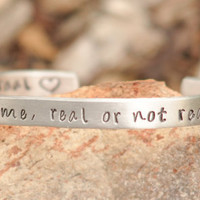 Hunger Games bracelet - Hand stamped You love me, real or not real, real