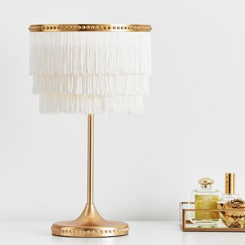 The Emily & Meritt White Fringe Table Lamp