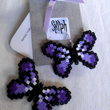 Earrings made of Hama Mini Beads - Flutterby (purple)