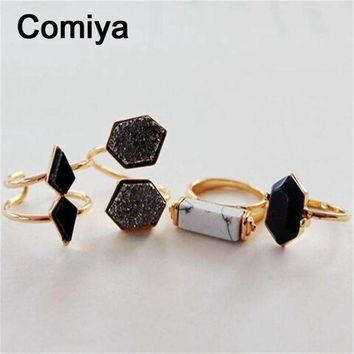 LMFUG7 Geometric black stone accessories fashion gold colors zinc alloy anel rings for lady m