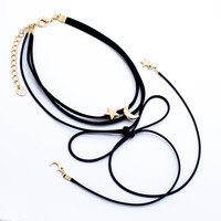 Moon & star bow choker necklace